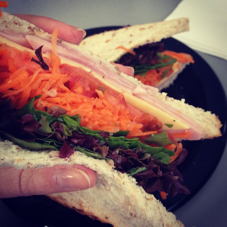 Healthy lunch on the go - ham and salad sandwich!