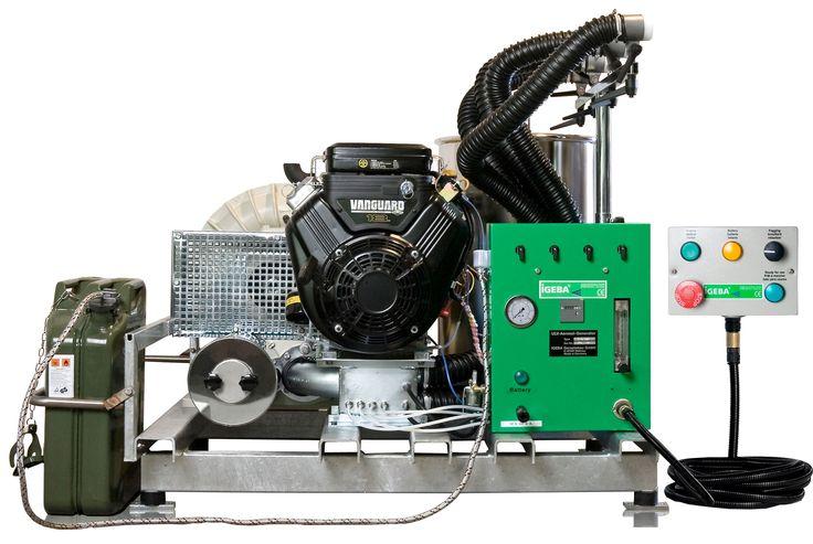 GENERADORES DE AEROSOL UBV (motor gasolina) - U40 HD M  - IGEBA Peso: 196 Kg Dimensiones: 110 x 95 x 68 Motor: 18  HP  4 Ciclos Presión: 0.3 bar Capacidad depósito de gasolina: 20 Lts Consumo de Gasolina: 4,5 l/h Suministro de corriente: 12 v cc bateria de coche.