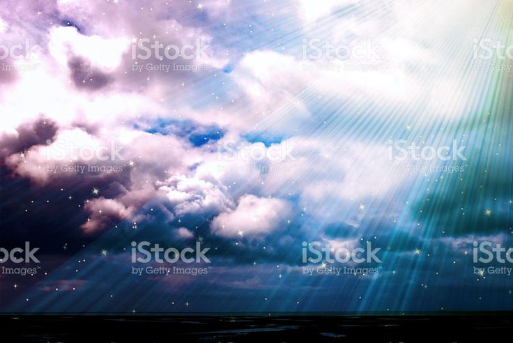 Magical Cloud with Light Beams and Stars Background, Filtered royalty-free stock photo