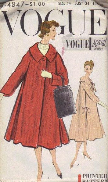 Vogue Sewing Pattern 50s Swing Coat Full Flare Side Pleated Jacket Wide Collar Bow Ties Long Elbow Length Sleeves Bust 34 Uncut FF S 4847