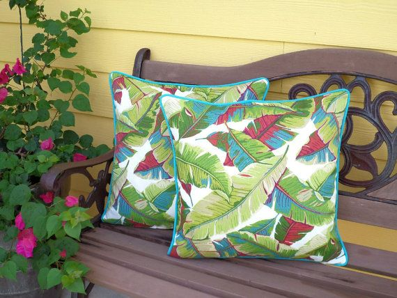 Palm Leaf Pillow Cover 18x18 Beverly Hill Decor, Tropical Outdoor Cushion  In Banana Leaf Fabric