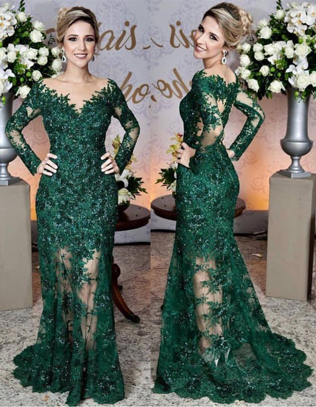 187b905436219 Long Sleeves Lace Mermaid Prom Dresses See Through Evening Gowns ...