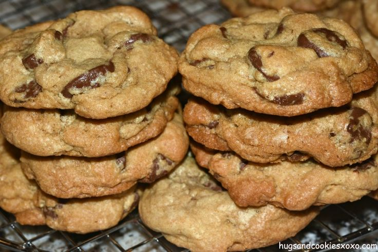 Mrs. Fields Chocolate Chip Cookies with a twist (extra baking soda) to make them puffy