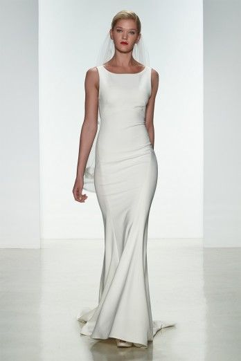 "Amsale Spring 2015 ""Heather"" gown. Heavy crepe slim fit to flare gown with bateau neckline and sheer #lowback with covered buttons from neckline to hem."