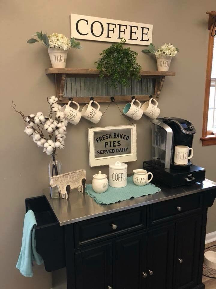Coffee Area, Coffee Nook, Coffee Corner, Coffee Bar Station, Home Coffee Stations, Tea Station, Coffee Bars In Kitchen, Coffee Bar Home, Bar Deco