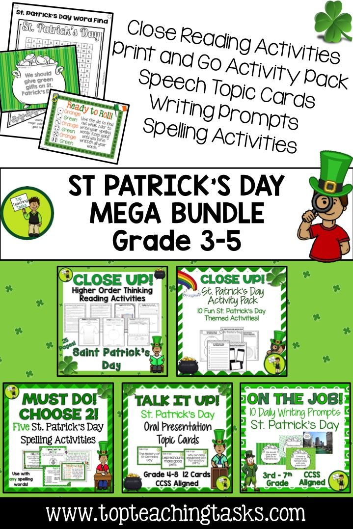 Let us save you time this St. Patrick's Day with our Christmas Collection: a bundle of fantastic St. Patrick's Day-themed ELA Resources! Reading, Writing, Spelling, and Public Speaking skills are all covered for a discounted price! www.topteachingtasks.com!