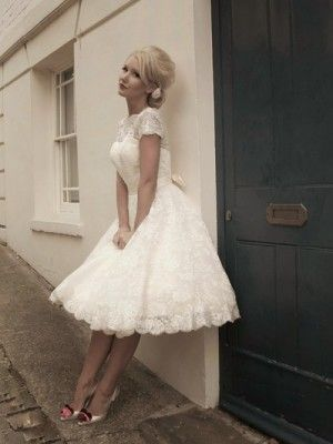 A-Line High Neck Lace Tea Length Short Wedding Dress