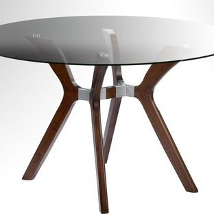Chintaly Imports Luisa 48 Inch Round Dining Table w/ Glass Top