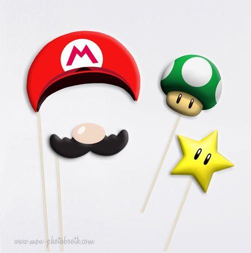 Mario Bros Champignon et Etoile Photobooth Accessoires - Mon Photobooth