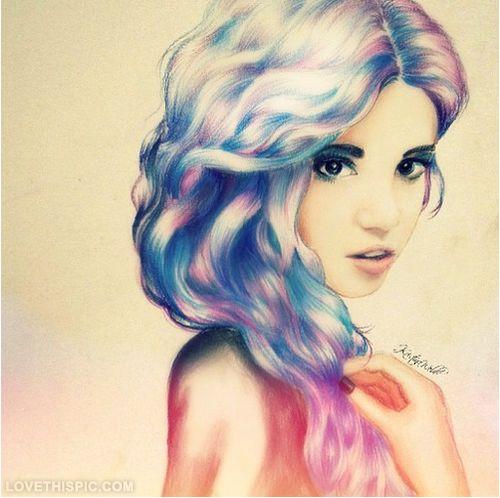hair drawing blonde girl pink