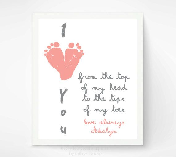 Gift for Grandparents - I Love You Baby Footprint Art - Personalized First Mother's Day Gift - Gift for New Grandma on Etsy, $30.00