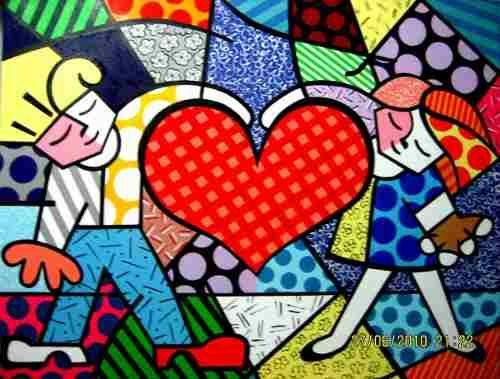 Tela Quadro - Painel Heart Kids - Romero Britto - Releitura - R$ 200,00