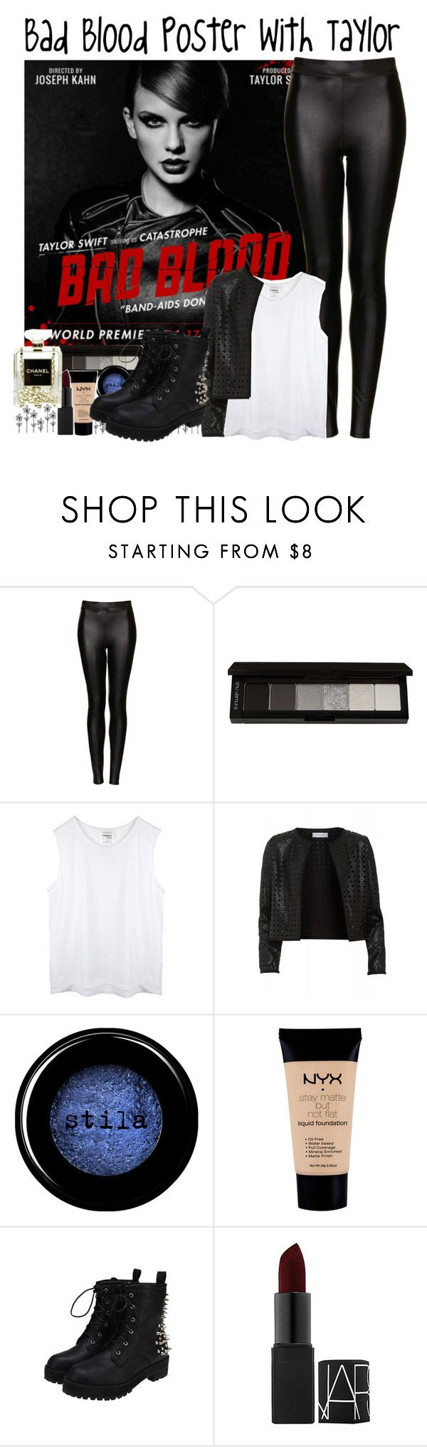 """""""Bad Blood Poster with Taylor"""" by albamonkey ❤ liked on Polyvore featuring Topshop, shu uemura, Maglie I Blues, Stila, NYX, NARS Cosmetics and Chanel"""