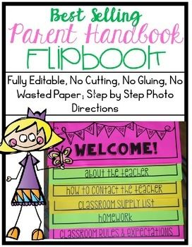 This Parent Handbook Flipbook is one of my top sellers and now it's better than ever! This file is a Powerpoint File that is fully editable. Not only do I give you an easy to follow click and type template to use but I give you step by step photo instructions for each step of the creation, printing, copying, and assembling process!Your parents will be blown away by this product and will go to it time and time again.