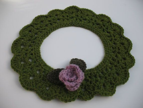 Moss Green Crochet Collar In Soft Irish Wool With by TissaGibbons, €15.00