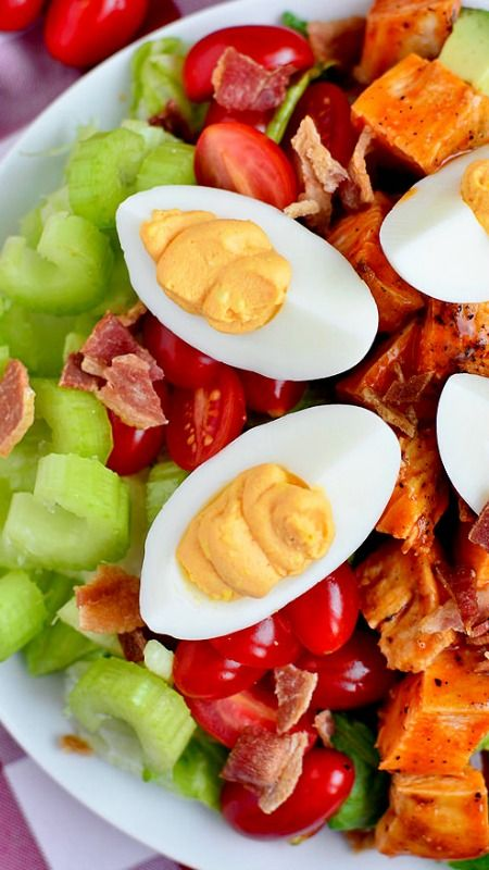Buffalo Chicken Cobb Salad with Buffalo Deviled Eggs ~ an addicting mix of spicy, bold, and zesty flavors.