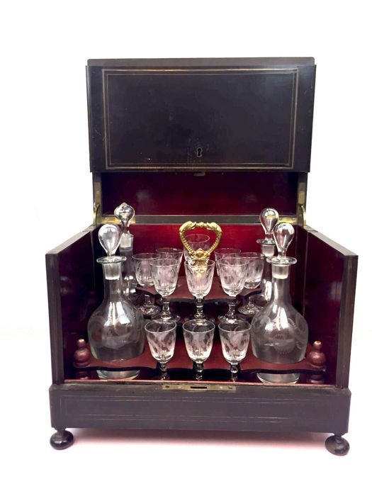 Catawiki online auction house: A Napoleon III bois noirci liqueur cellar - with brass inlay - France - circa 1880