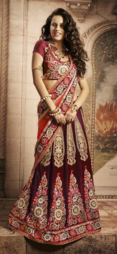 Buy Ethnic designer bridal lehenga saree Online - Rs 11590