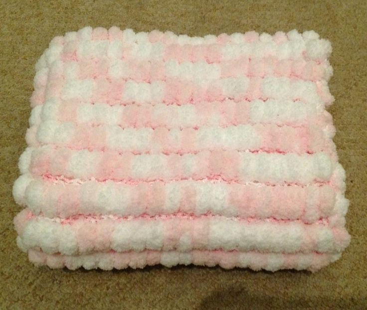 Knitting Pattern For Pom Pom Blanket : Hand knitted Pink and white Rico marshmallow Pom Pom baby ...