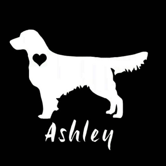 Golden retriever silhouette personalized vinyl by