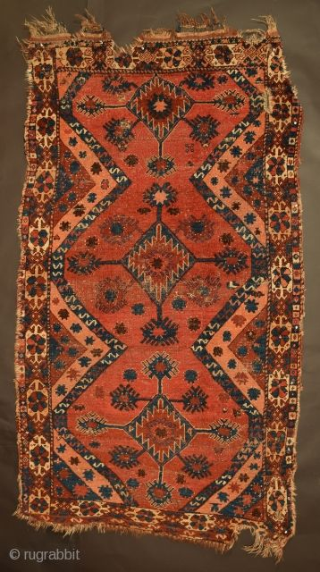 """Extremely rare Turkmen-Uzbek rug in remarkably good condition, tentatively attributed to a tribal group of the Nurata Basin, Uzbekistan, circa 1850, 4' x 7'4"""" (+/-), additional information about this rug can be ..."""