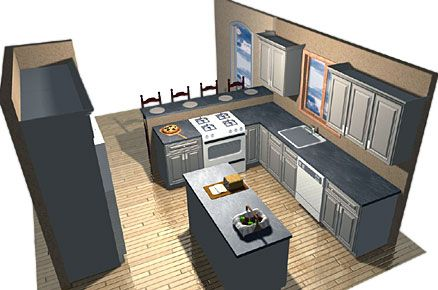 Kitchen island design idea - rectangular island placed in a L shaped kitchen layout