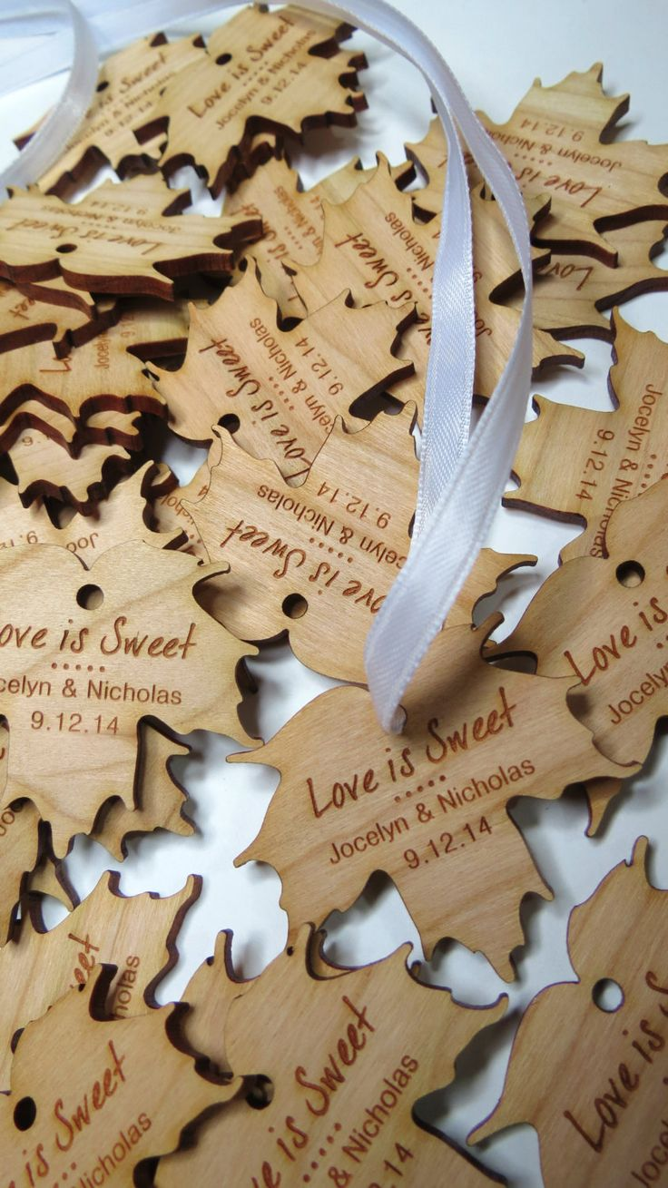 Are you planning on sweetening up your guests with some maple syrup favours? These wedding tags would be a perfect addition to finish off your look. Available in 3 different shades of wood, you can customise your gifts any way you want. These tags are made from 1/8 solid wood. You have the option of choosing Maple (lightest), Cherry (medium) wood. The image is laser engraved onto the wood and cut.  These do not come stained or varnished. Size: 2 @ widest point x 0.125 thickness  Please…