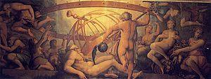 Giorgio Vasari -  The Castration of Uranus: fresco by Vasari & Cristofano Gherardi (c. 1560, Sala di Cosimo I, Palazzo Vecchio, Florence).            Wikipedia, the free encyclopedia