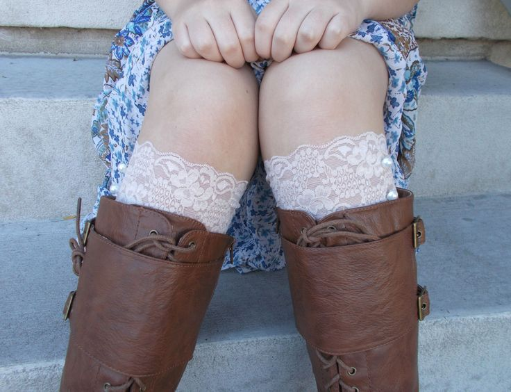Buff Lace Boot Cuffs, Boot Accessories, Lace Boot Socks Buttons, Small Gifts for Women, Lace Leg Warmer, Boot Toppers, Gifts for Teen Girls by foreverandrea on Etsy