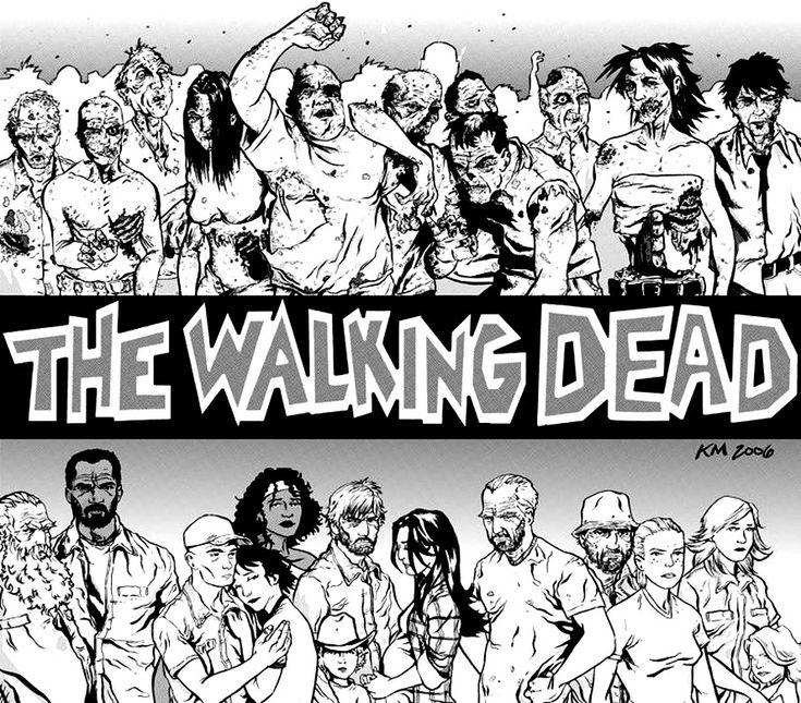 Free coloring page coloring-adult-the-walking-dead-by-kyleiam. The Walking dead main characters