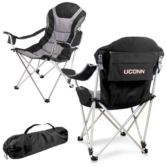 UConn Huskies Black Reclining Camp Chair.  Great as a spectator chair at sporting events or outdoor activities. Visit SportsFansPlus.com for Details.