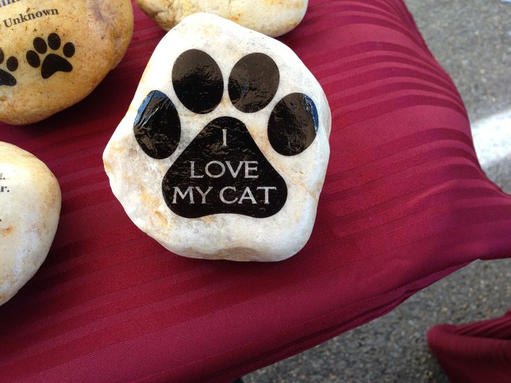 Painted Rock Idea I Love My Cat Natural Rock Showing Through Beneath Paw  Print