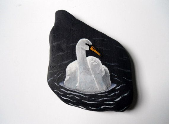 WINTER SALE, Swan Painted Rock Office Paperweight