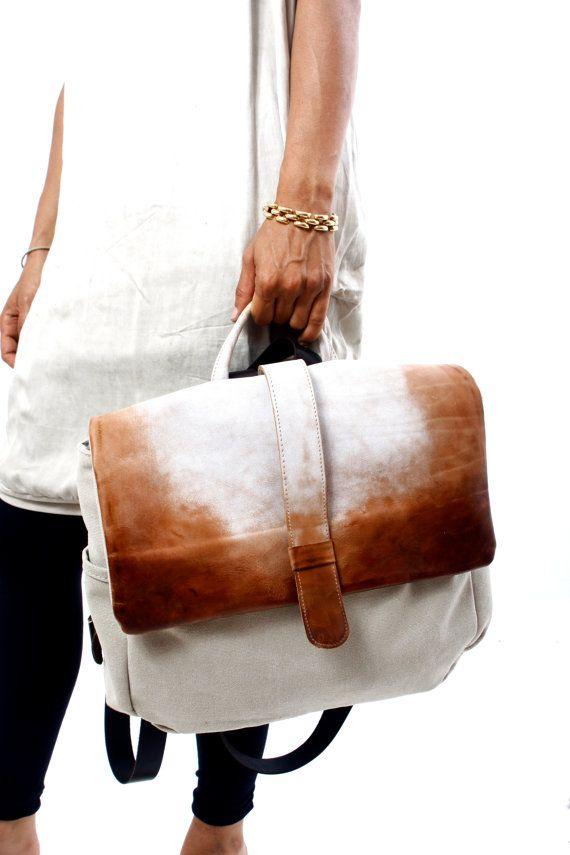 Mens Womens fanées en cuir et toile sac à dos par RuthKraus