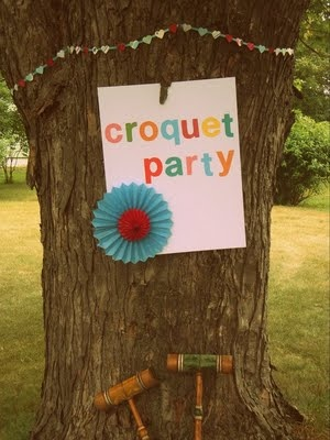 Croquet for vintage party, need different lettering for sign though.