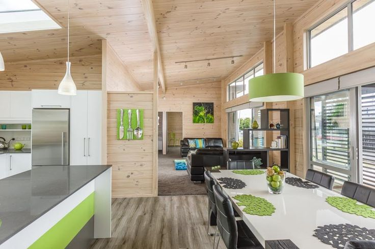 High clerestory windows and skylight in the kitchen in this Lockwood show home in Takanini Auckland