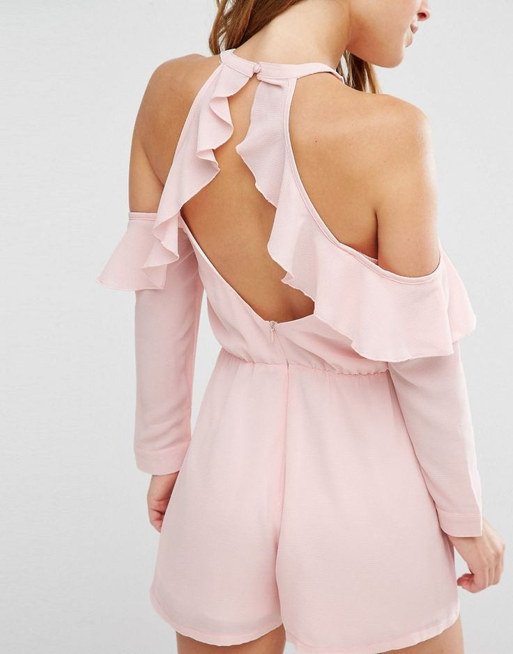 Image 2 of Boohoo Petite Cold Shoulder Ruffle Romper