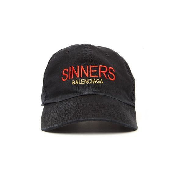 0a0cf6c3 Balenciaga Sinners Embroidered Cap ($305) ❤ liked on Polyvore featuring  accessories, hats, embroidery caps, balenciaga, embroidery hats, cotton hat  and ...
