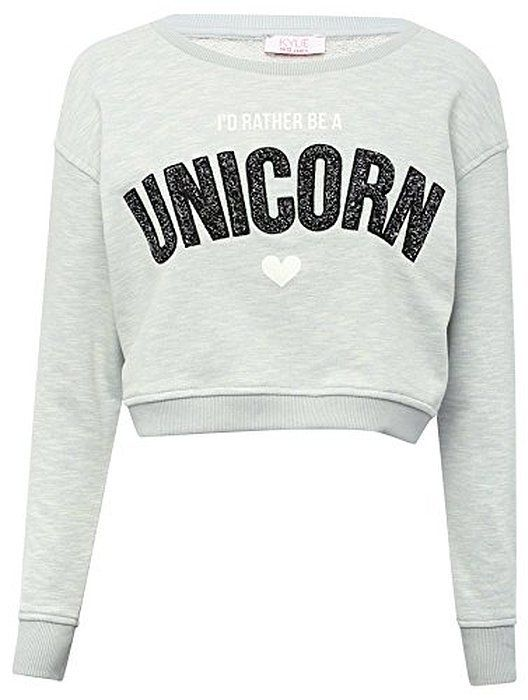 Teen Girls Light Blue Cropped Long Sleeve Sparkly Unicorn Slogan Sweatshirt | @giftryapp
