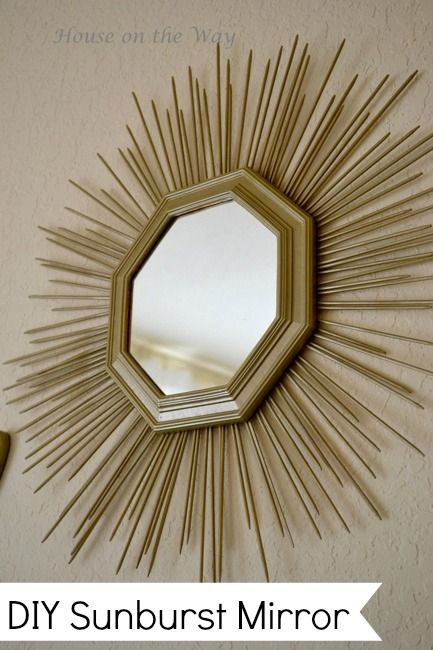 a diy sunburst mirror made from a mirror and wooden skewers the skewers were simply glued to the back of the mirror to create this beautiful sunburst