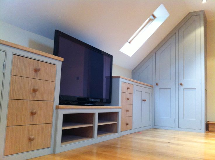 Other view of the teenager's den of under eaves attic cupboards, drawers, media centre we made for a lovely home up North!
