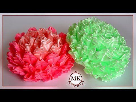 Красивые цветы из лент. Канзаши. МК. / DIY. Beautiful ribbon flowers. Kanzashi. - YouTube