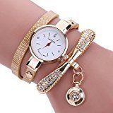 Inkach® Women Leather Rhinestone Analog Quartz Wrist Watches Sport Watch Gift (Beige)