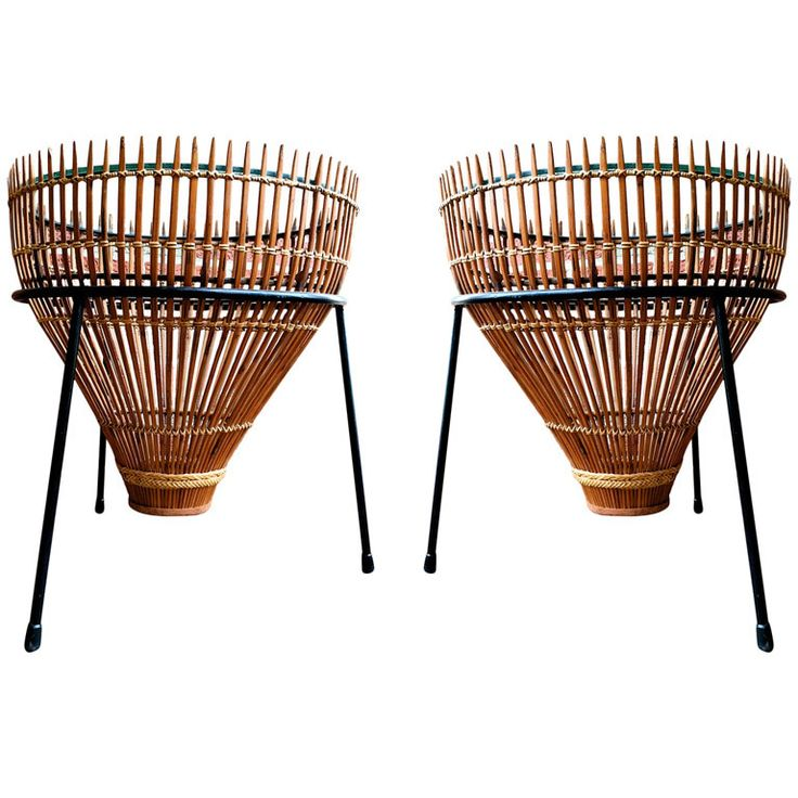 Outstanding pair of wicker and glass mid-century end tables. attributed to Arthur Umanoff. Scarce.