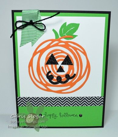 "I used two of the Swirly Scribbles Thinlits to create this pumpkin.  My stem and leaf are from the retired ""Apple of My Eye"", and the greeting is from a retired Hostess set.  You can substitute easily for those items, and if you don't have any of last year's Black Glimmer Paper, you can use Basic Black with Wink of Stella for the jack-o-lantern features. I used a triangle punch to nip out bits of black for the eyes and nose, and the mouth is from our new Sprinkles Punch.  The chevron…"
