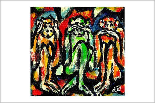JACQUELINE DITT - Drei Affen MINIATUR ACEO Druck Affe - Sammelkarten Format