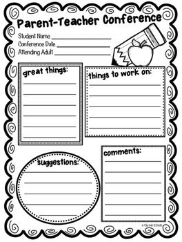 Use this cute parent-teacher conference form for all those conferences. It's free so enjoy! Visit my store for more items. Thank you!