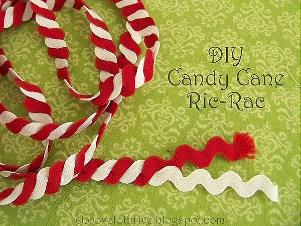 Twist red and white lengths together to make candy cane ric rac. Make sure you iron it really well after you twist it together to help it lay flat when you sew it on to your desired fabric.