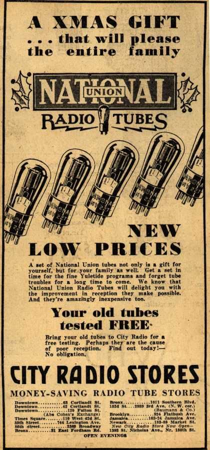 National Union Radio Tube's Radio Tubes – A Xmas Gift... that will please the entire family, National Union Radio Tubes, New Low Prices (1930)
