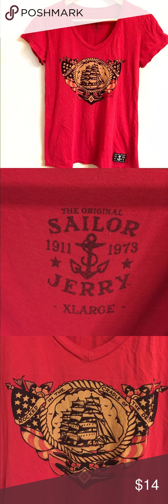 "Sailor Jerry Red V neck T Shirt with Ship Print The Original Sailor Jerry red women's tee XL.  Ship and flag graphic.  Patch label on hem ""Death or Glory"" Length 26"" armpit to armpit 17"" Sailor Jerry Tops Tees - Short Sleeve"